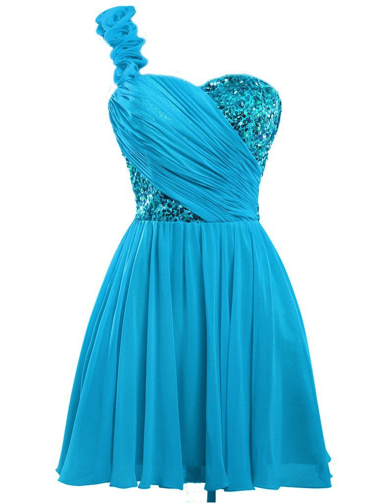 JAEDEN Girl\'s One Shoulder Crystals Homecoming Dresses Short Party ...