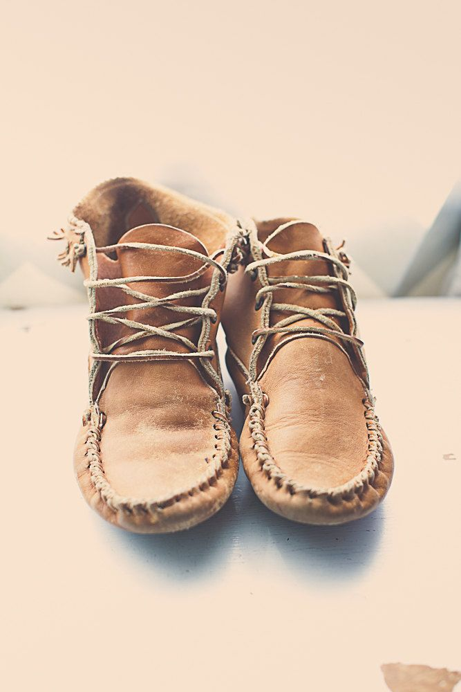 80s Vintage Brown Tan Leather Moccasins Booties Ankle Boots Women S