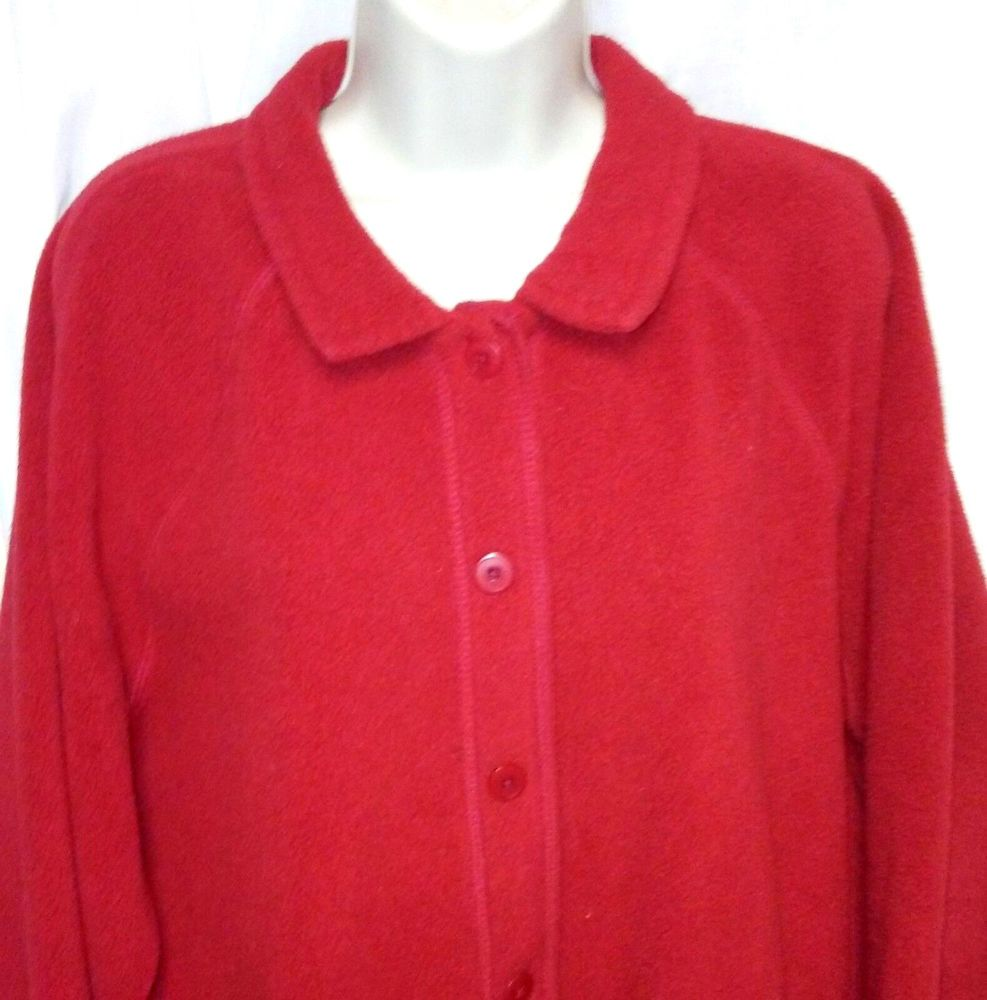 Details about Lands End Womens Christmas RED Button Front Fleece ...