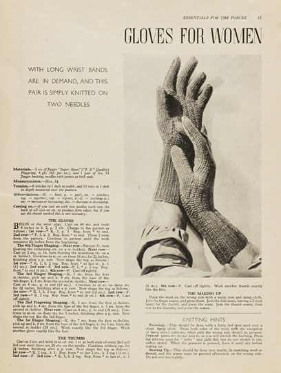 A 1940s knitting pattern for simple, lovely long wristed gloves. #vintage #gloves #knitting #knit #1940s
