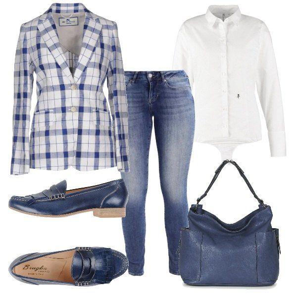 best website a58f9 b4f75 Camicia bianca maniche lunghe a body, giacca a quadri bianca ...