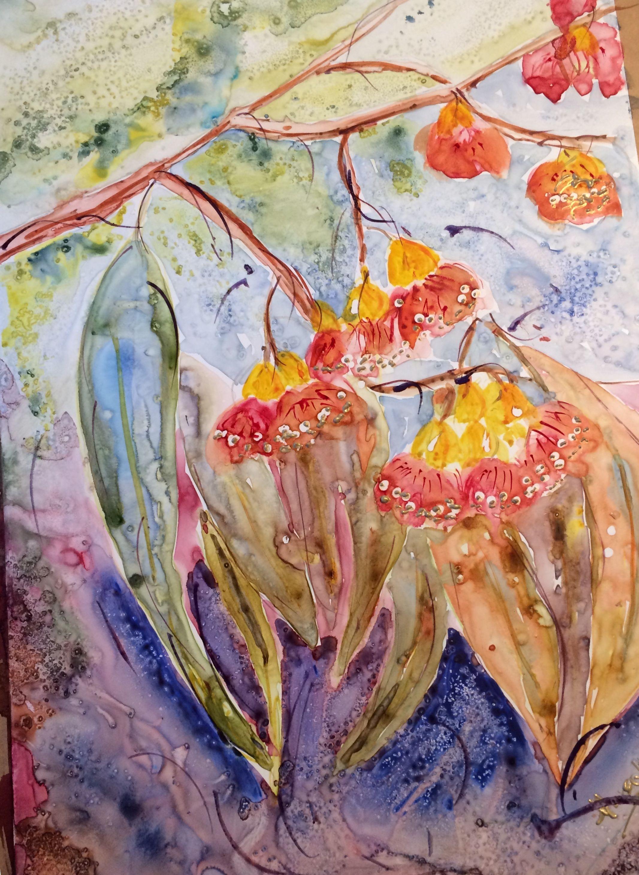 Beautiful blossoms of the Australian gum tree (watercolour