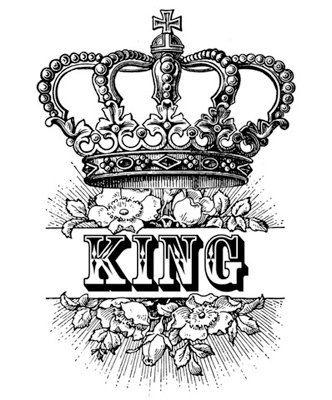 King Crown Royalty Roses Victorian Antique Digital Image Download
