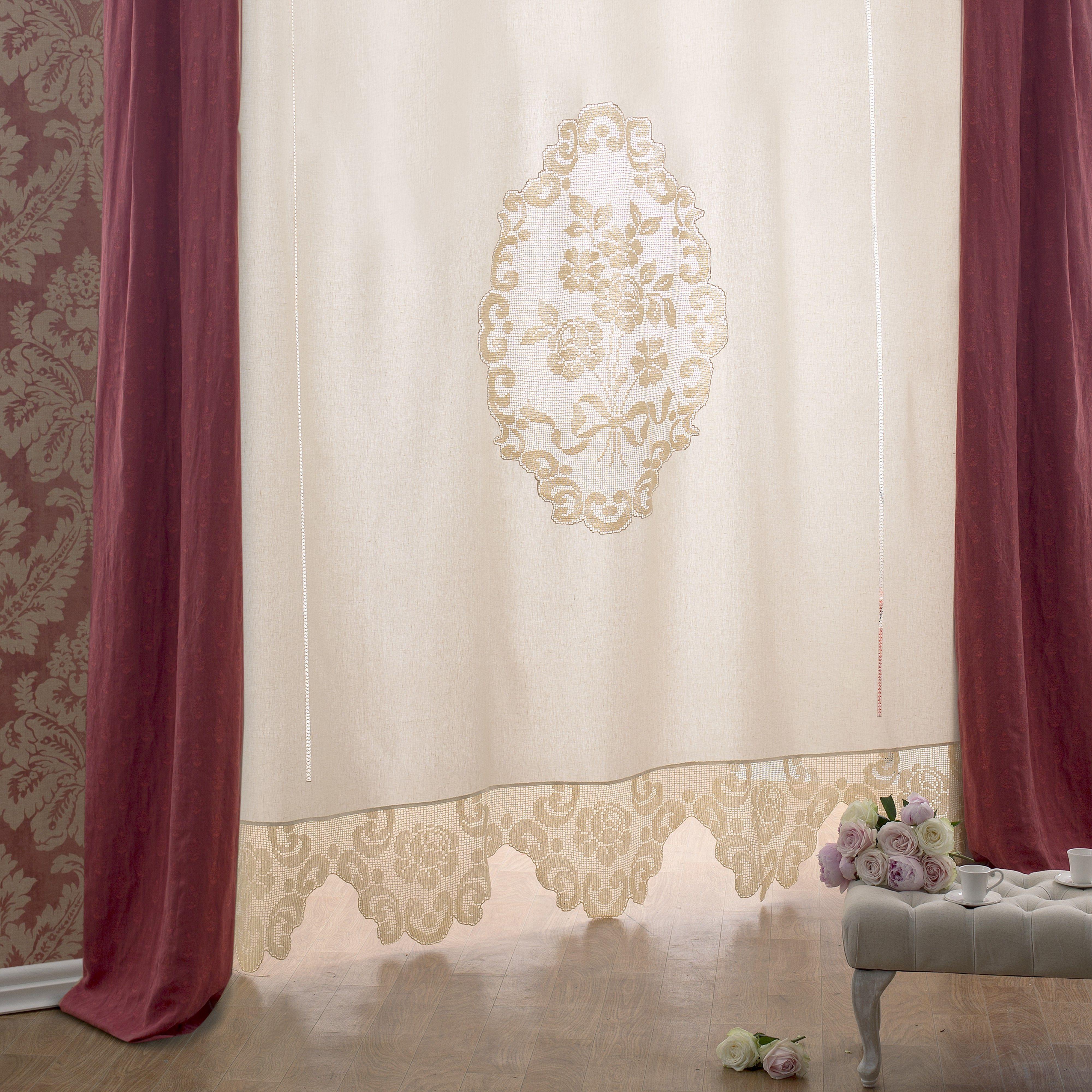 Puro lino avorio completo con schema su carta a quadretti - Tende in lino per cucina ...