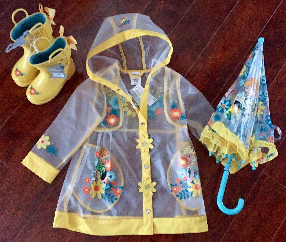 disney store nwt frozen anna elsa girls 3t rain coat jacket boots 9  umbrella from  100.0 1a6d0f29b4f5