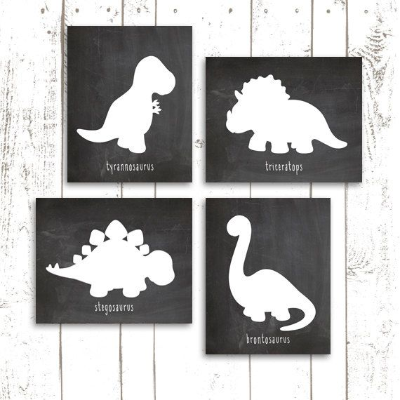 Dinosaur Art Print, Dinosaur Nursery Prints on Chalkboard, Chalkboard Art Prints in 8x10 Inch #dinosaurart