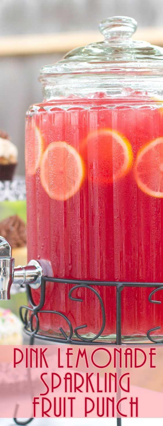 Roze limonade mousserende fruitstempel #lemonadepunch