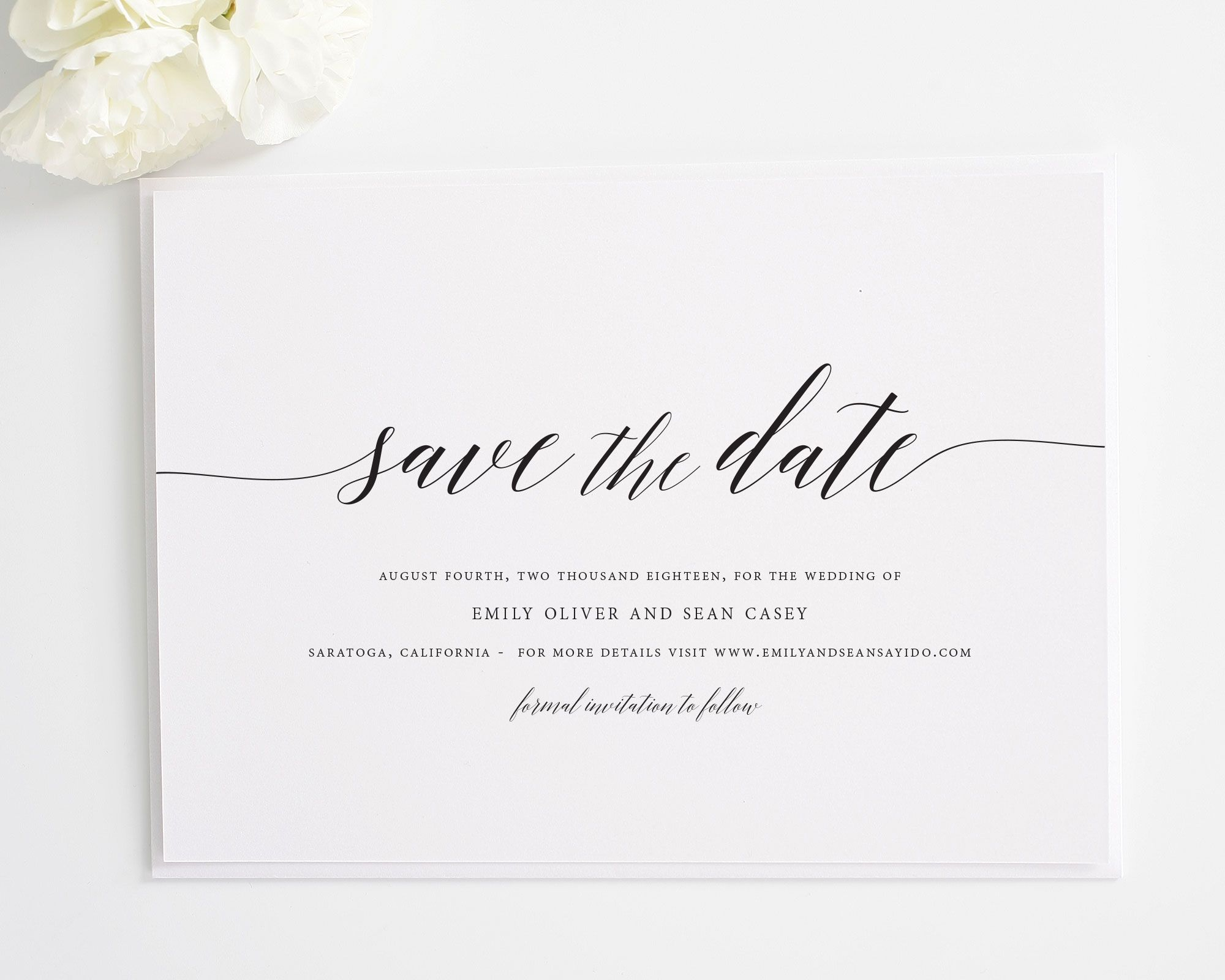 Delicate Romance Save The Date Cards