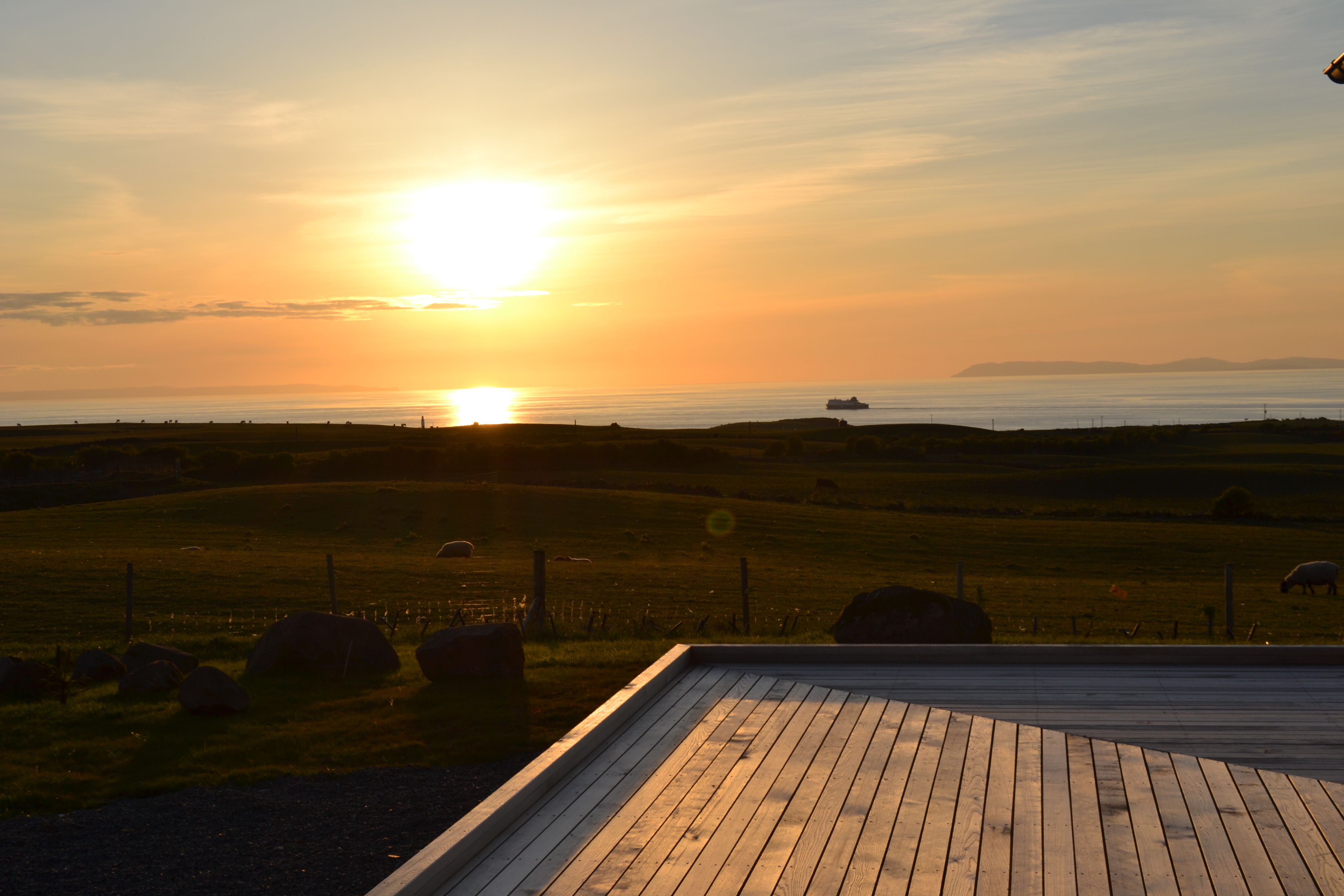 Sunset over the Irish sea from #Dundream decking