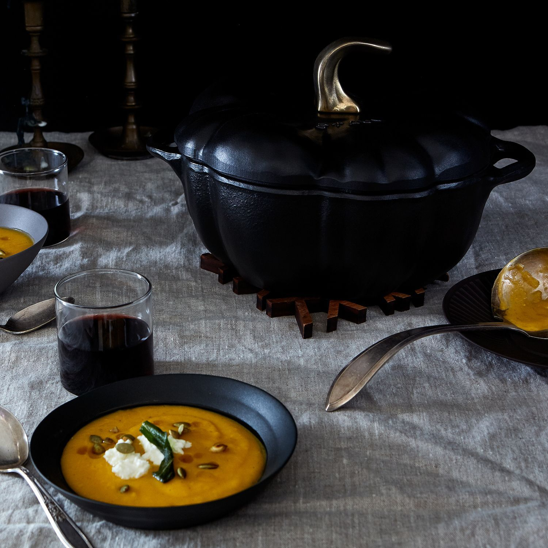 Staub Ceramic Pumpkin Cocotte 3 5 Qt Or 5 Qt White Orange Black Cocotte Recipe Food 52 Cooking