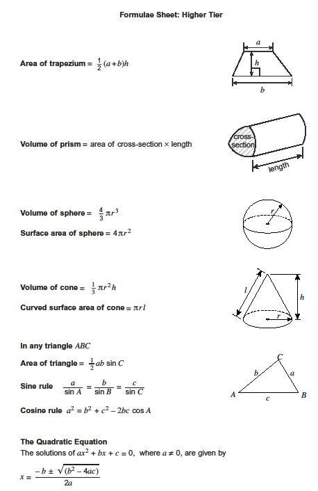 Aqa Gcse Maths Formula Sheet Revision Maths Gcse Math Math