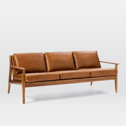 Mid Century Wood Frame Leather Sofa
