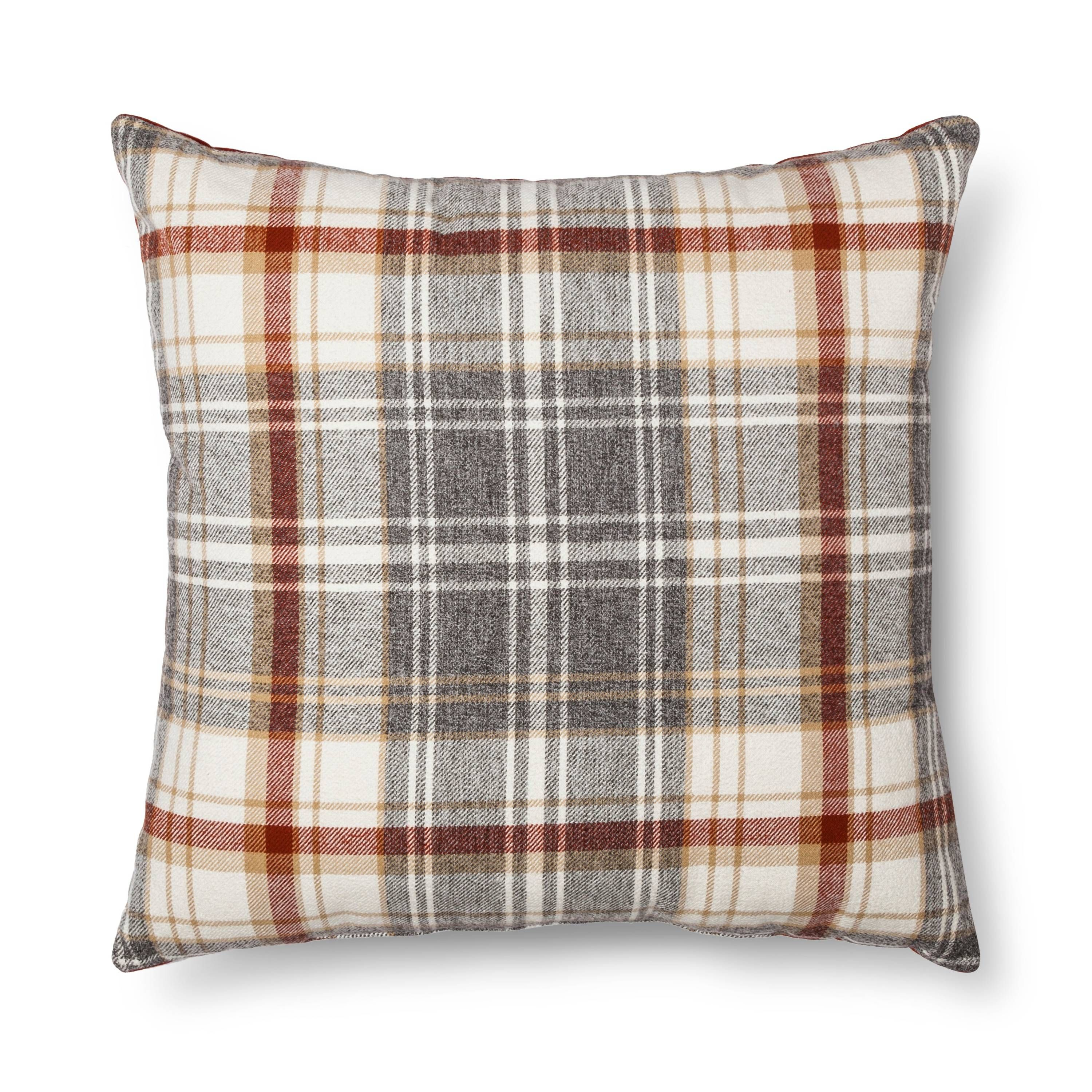 throw pillow plaid oversized
