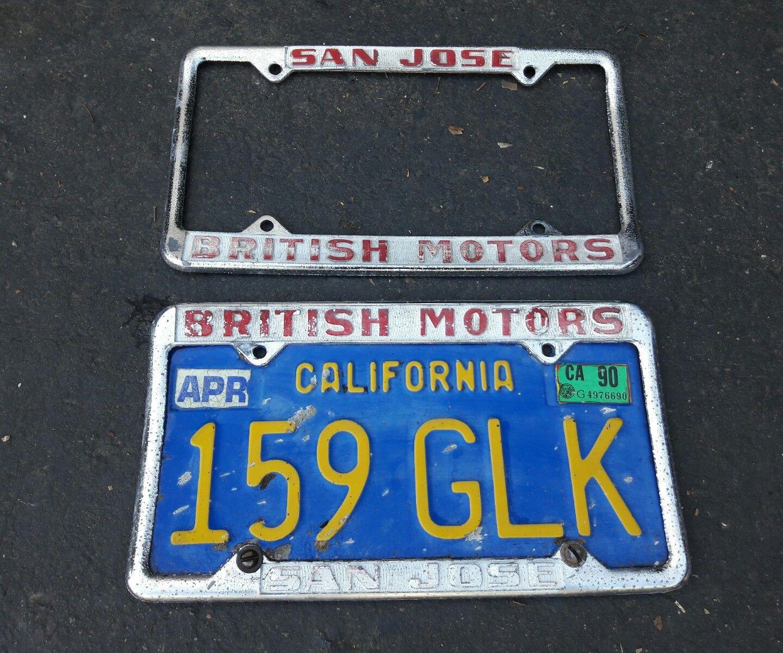 Vintage British Motors San Jose Ca Dealership License Plate Frames ...