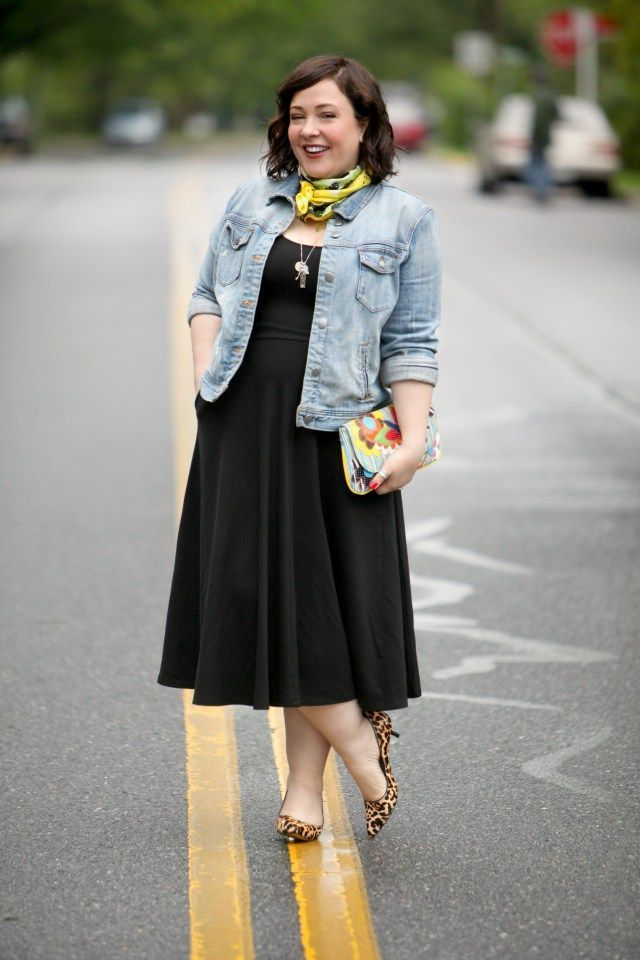 Wardrobe Oxygen Wearing A Dvf Warhol Scarf With Black Fit And Flare