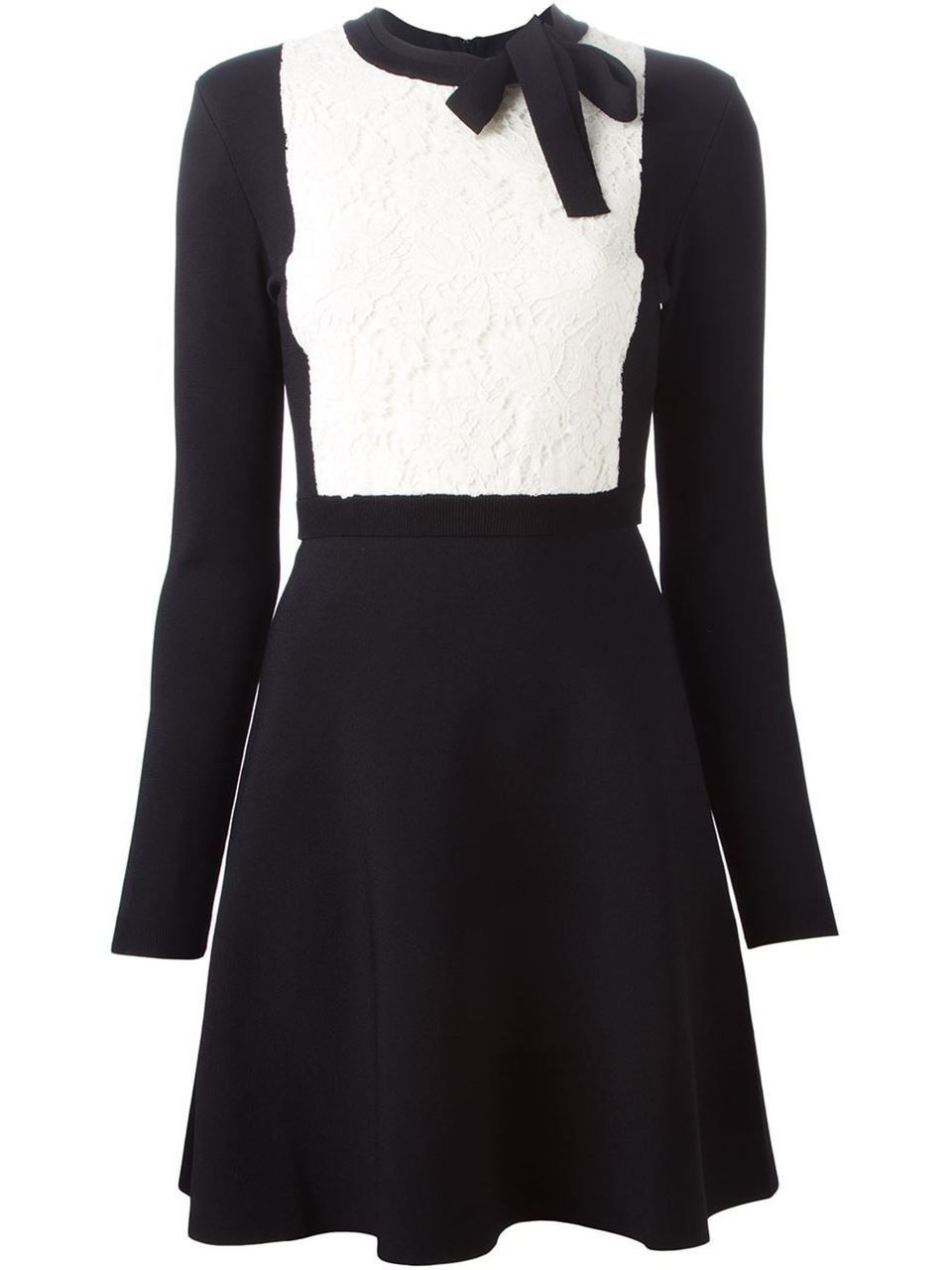 Valentino lace panel aline dress black compare at