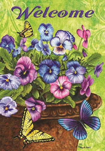 Custom Decor Flag Butterfly Pansy Welcome Decorative Flag At Garden House Flag Diamond Painting Paint Kit Painting