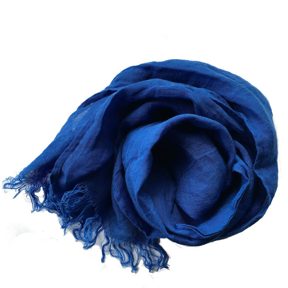 Leinen Schal mit Fransen aus 100% gewaschenem  Leinen (48 x 175 cm) Königsblau