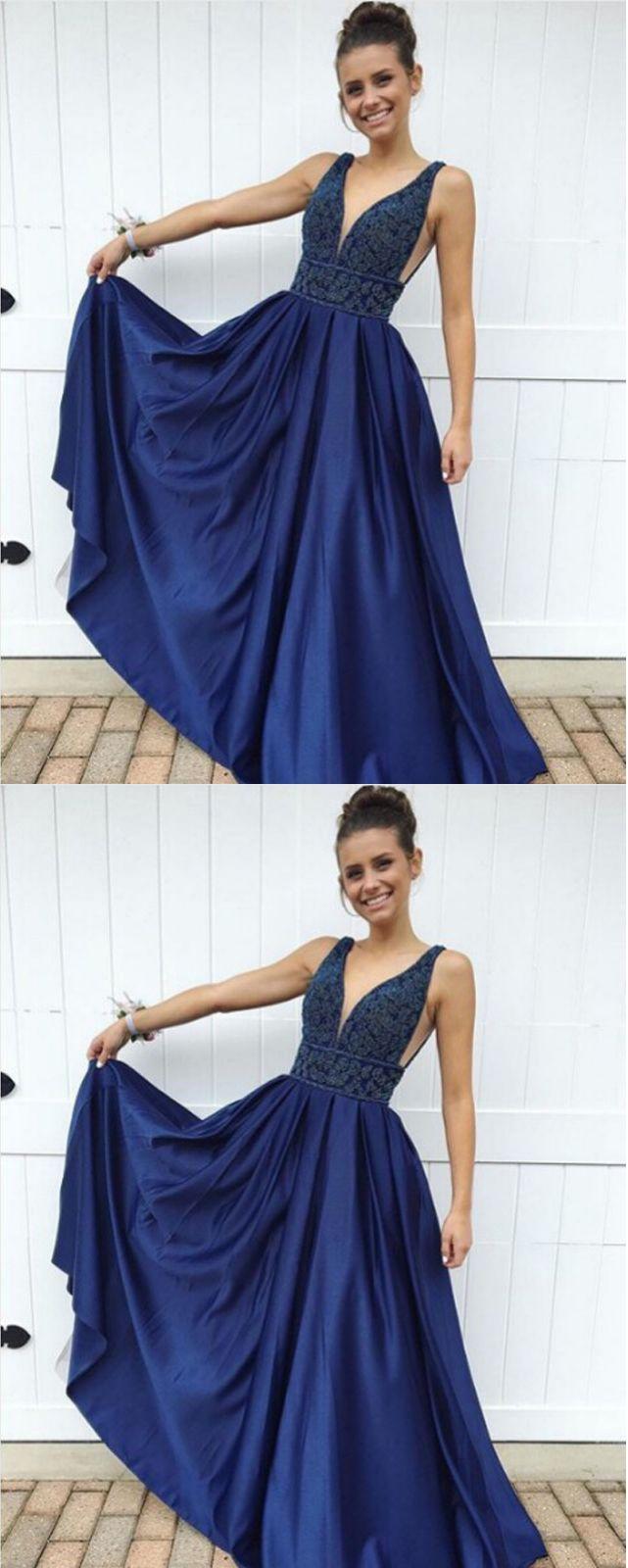 Fashion aline vneck navy blue long promevening dress with beading