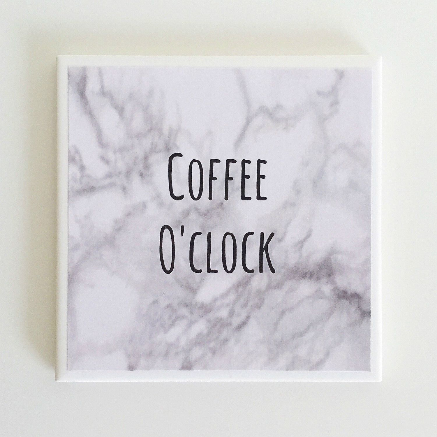 Coffee Quote Coaster - Marble Ceramic Tile Drink Coaster with Coffee ...