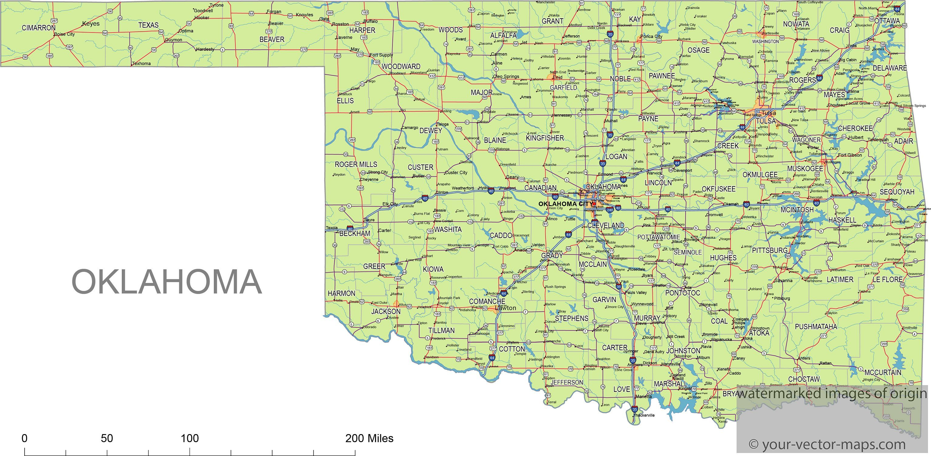 Oklahoma state route network map Oklahoma highways map Cities of