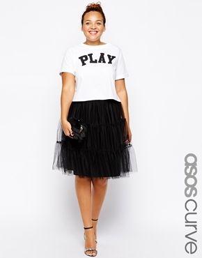 b86b1481e5e79 Plus Size ASOS CURVE Mesh Tiered Skirt - Black