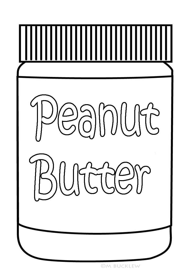 Peanut Butter Jar Coloring Page For Kids Food Coloring Pages