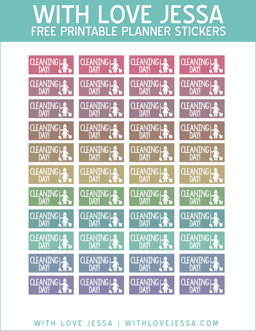 Cleaning Day Planner Stickers Muted Colors  Planner