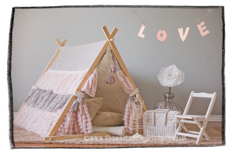 Kids Lace Ruffle Teepee Tent Cover. $249.00, via Etsy. | tipi ...