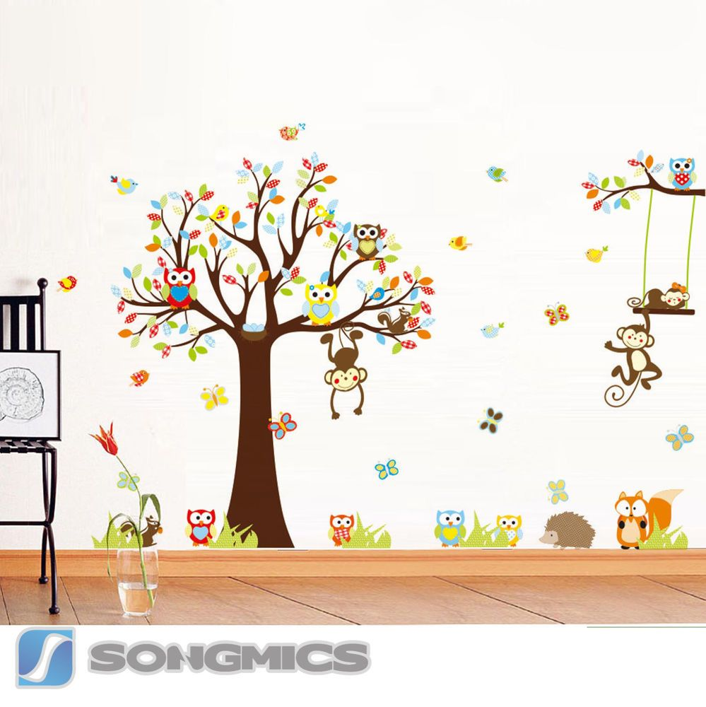 wandtattoo wandsticker kinderzimmer xxl deko tiere kinder wald affe baum baby sticker baby. Black Bedroom Furniture Sets. Home Design Ideas