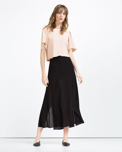 92fad0ff589cf Image 1 of CROPPED TOP WITH PLEAT DETAIL from Zara