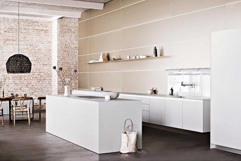 Hohe Decken Backstein küche, Küche beige und Küchen planung