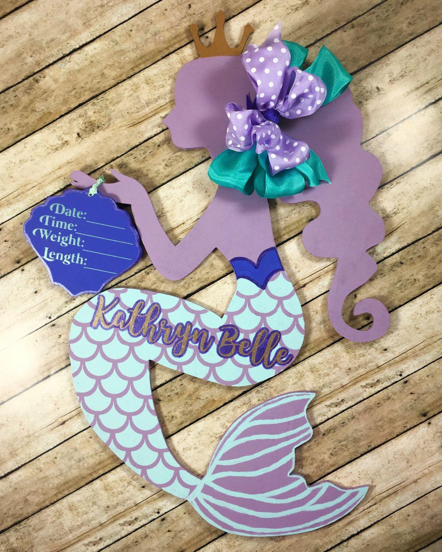 Mermaid Door Hanger Mermaid Birth Announcement Hospital Door – Hospital Birth Announcements
