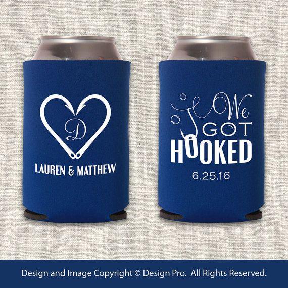 Wedding Koozie Ideas: We Got Hooked - Fishing Wedding Can Cooler