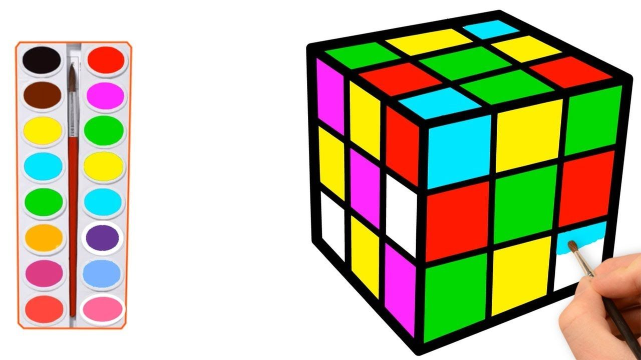 How To Draw Toy Rubik S Cube Coloring Pages For Kids Coloring