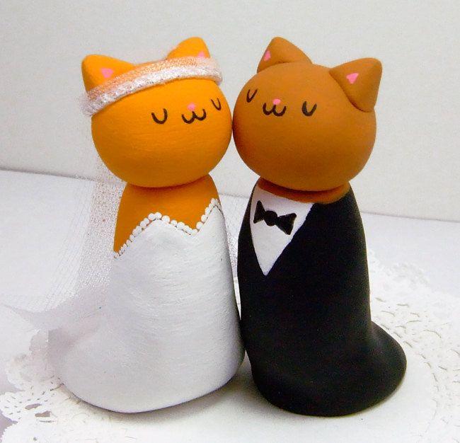 Wedding Cake Topper Cats Ginger Orange Kitties Ready to Ship. $89.00, via Etsy.