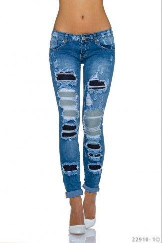 a632702e039b Τζιν παντελόνι με σκισίματα - Μπλε