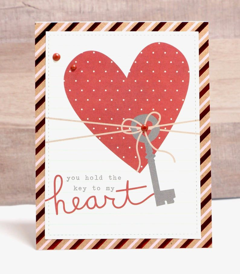 Key To My Heart Card Valentine Card Love Card Heart Card