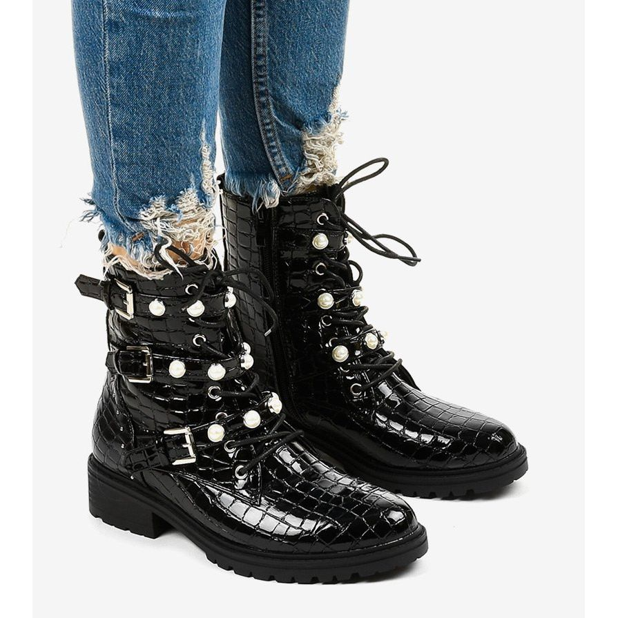 Czarne Plaskie Botki Ocieplane Perelki Torwain Shoes Combat Boots Winter Boot