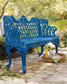 Pin By Liz On Blue And Green Cottage With Images Blue Bench Outdoor Outdoor Bench