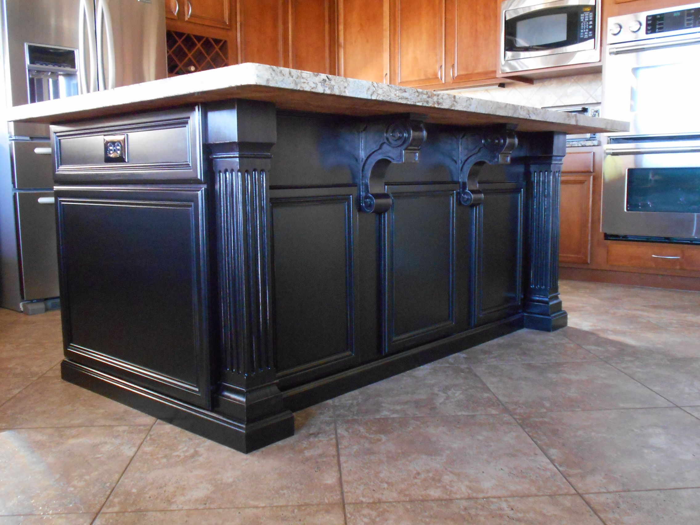 Custom Kitchen Island With Dark Espresso Finish Decorative Corbels And Trim For Home In Peor Custom Built Cabinets Custom Wood Furniture Custom Kitchen Island