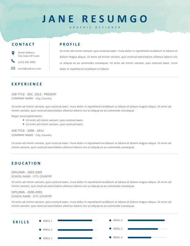 PHOTINE Aqua Brush Resume Template in 2020