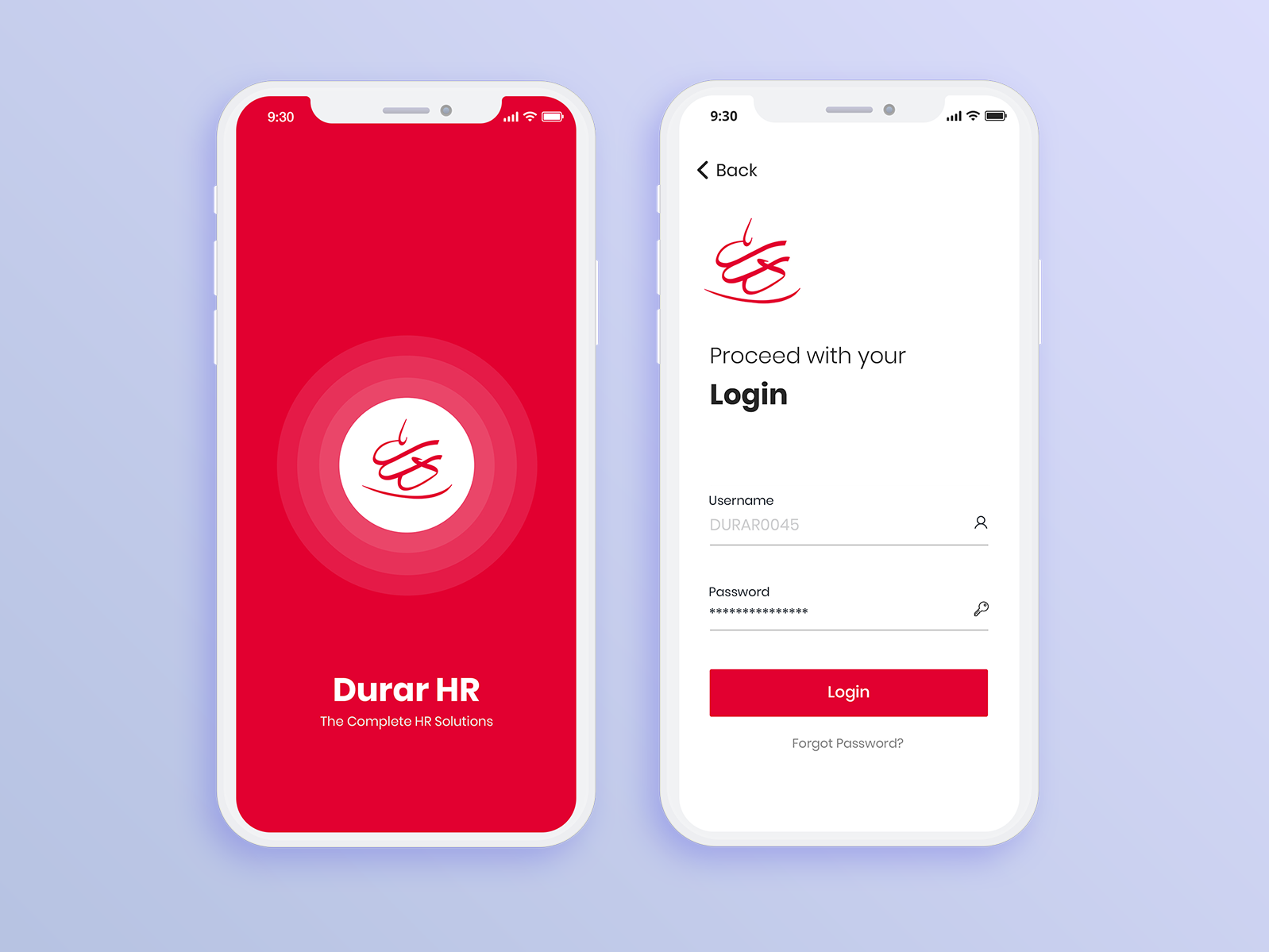 DurarHR Login Screen Login design, Mobile app design