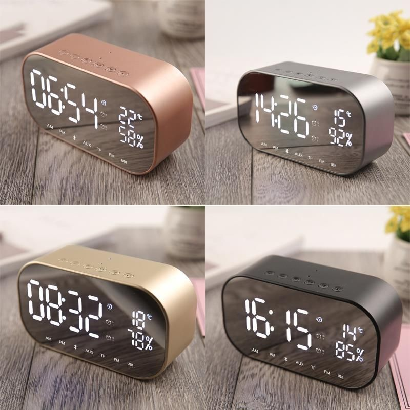 Digital LED Clock Multifunctional Noiseless LED Mirror Clock Display Time / Temperature Electronic Desk Table Clocks Speaker