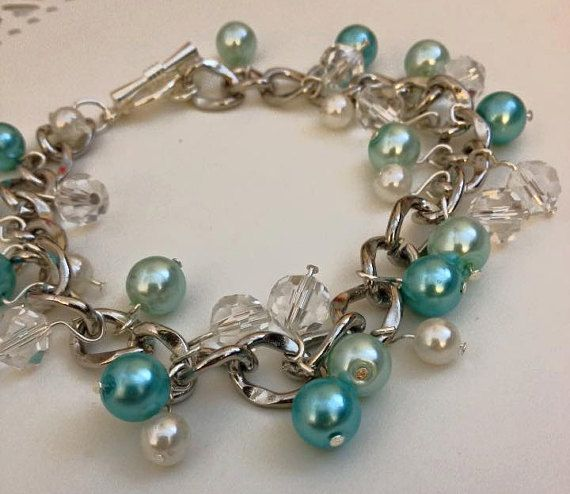 Blue Pearl Crystal Charm Bracelet by LifeCouldBeSweet on Etsy