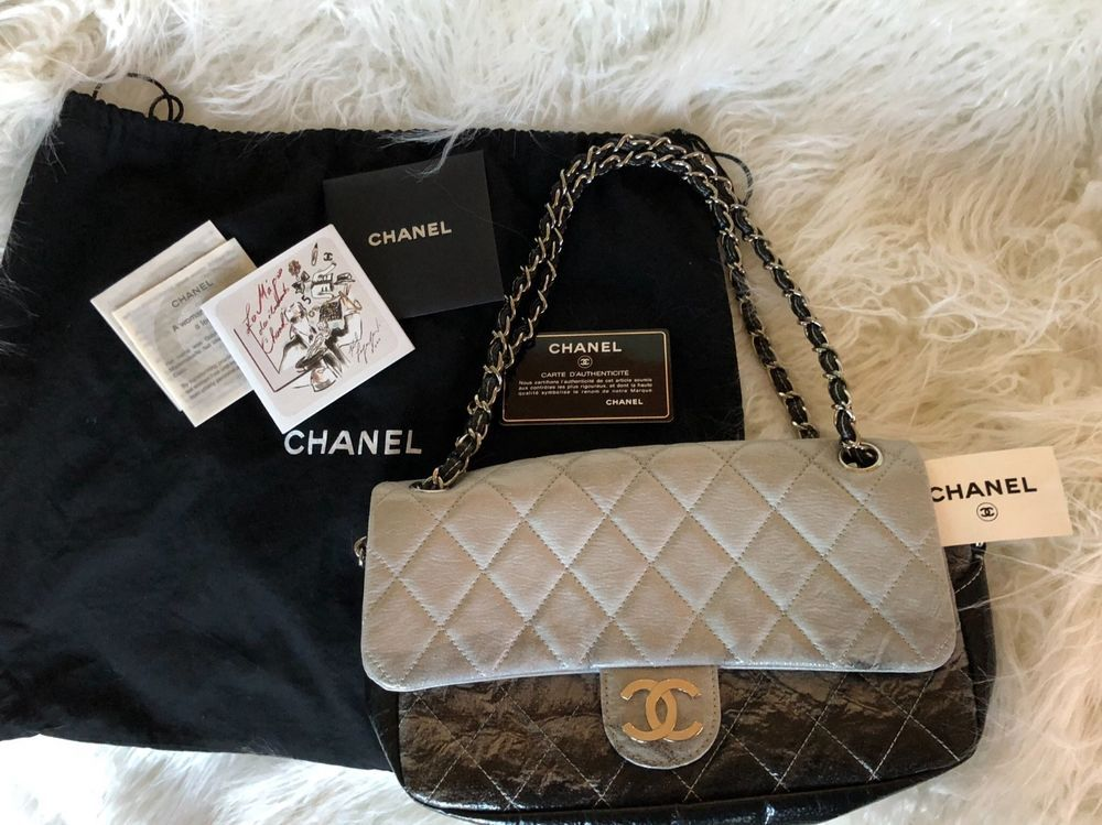 50c94cc1e0b55b AUTH Chanel Grey Black Ombre Melrose Degrade Jumbo Flap Bag Silver Chain  2.55 #ChanelClassicwithFlap #EverydayBags