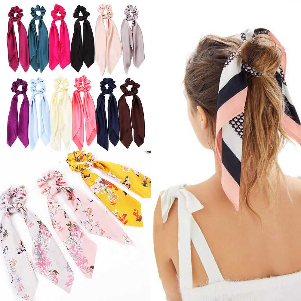 Lazo de satén con estampado Floral/liso DIY, cinta para cola de caballo, bufanda, gomas elásticas para atar el pelo, diademas elásticas para mujeres y niñas, accesorios para el cabello