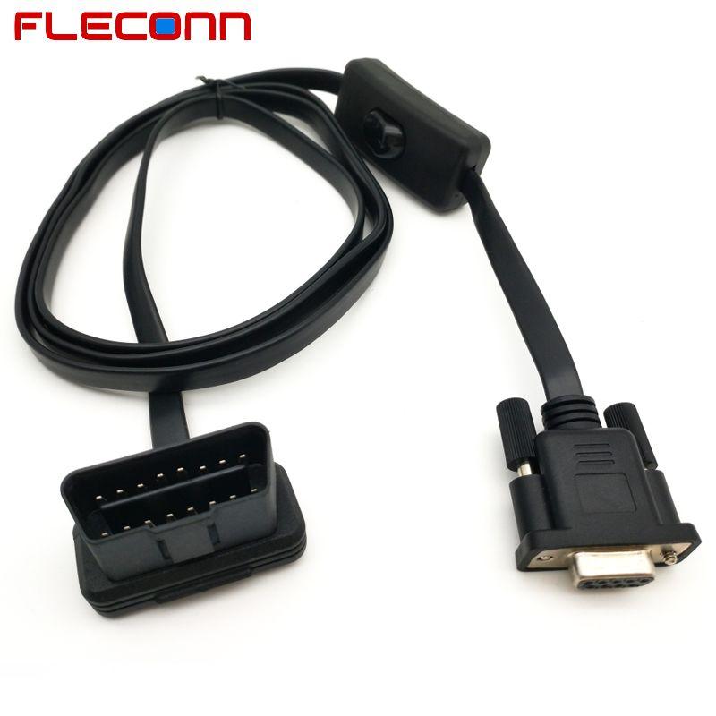 Male Obd Obdii Obd2 To Female Db9 Rs232 Switch Diagnostic Cable Obd Cable Obd2