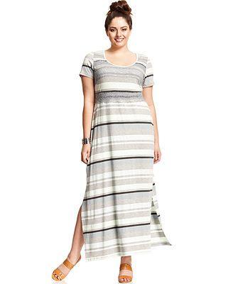 Jessica Simpson Plus Size Short Sleeve Striped Maxi Dress