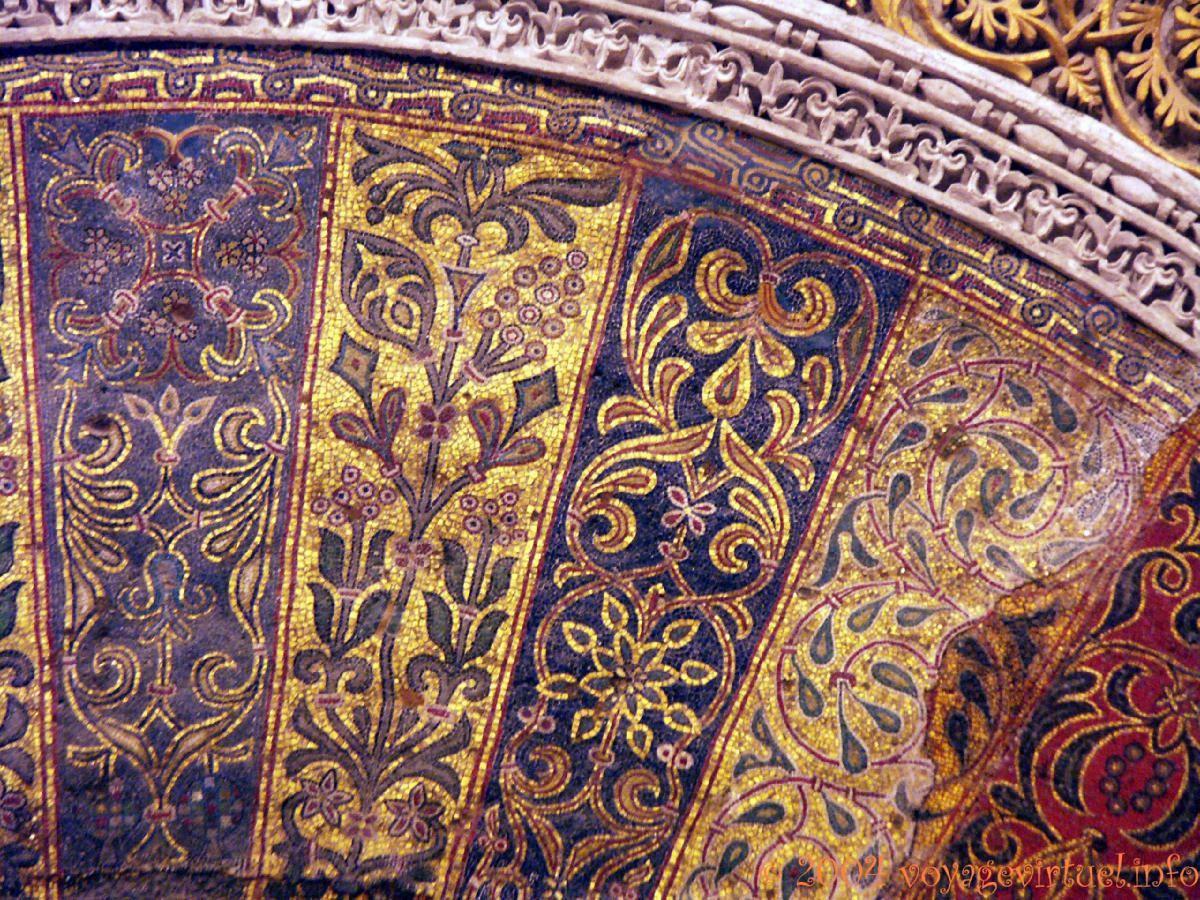 Détail des mosaiques de Mirhab, Mezquita Cordoba, Espanha, Andaluzia